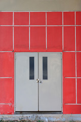 door and red wall