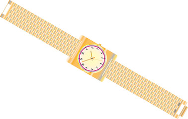 Gold watch with gold wrist band. Classical modern watch.