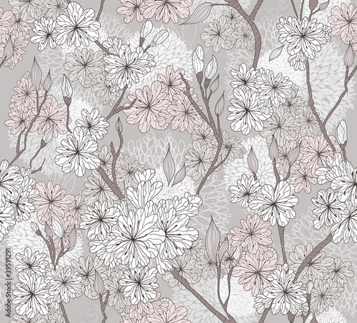 Tapeta Seamless cherry blossom flowers pattern. Abstract floral pattern