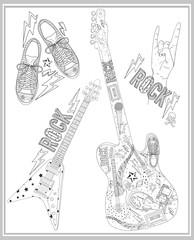 Rock music design elements set.