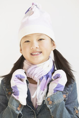 Girl wearing warm clothes