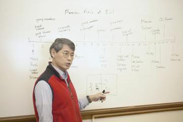 Male teacher at whiteboard