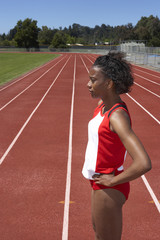 Portrait of female track and field participant