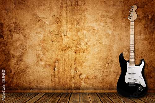 Electric guitar and the wall