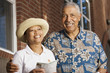 Portrait of elderly couple smiling