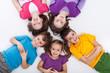 Five happy kids on the floor
