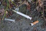 Syringe in gutter poster