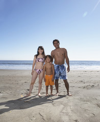 Portrait of family in bathing suits at beach