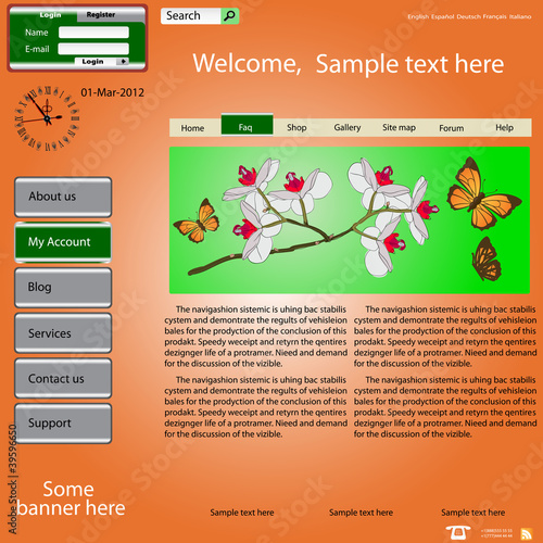 Vector template web site about  nature.