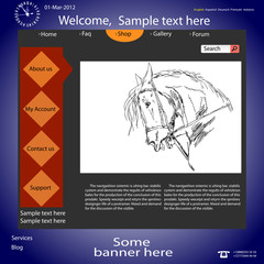 Vector template web site about  horses.