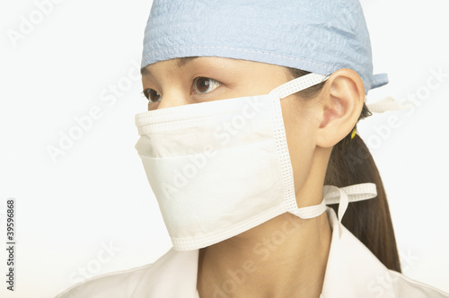 Female doctor wearing a face mask