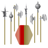Illustration of medieval weapons and shield poster