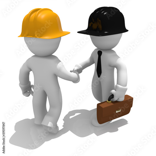 Architect and construction worker shaking hands, deal done
