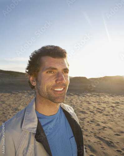 Portrait of man on beach