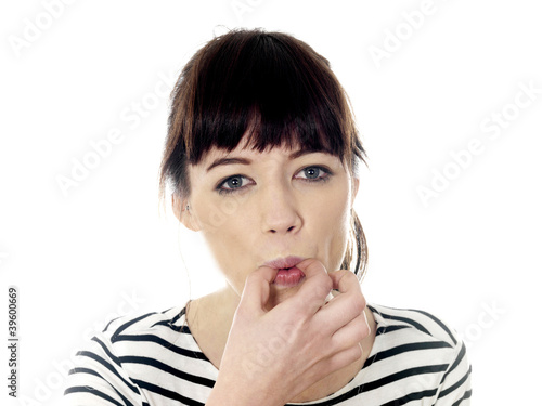 Young Woman Whistling. Model Released