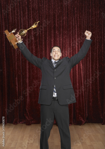 Man accepting an award