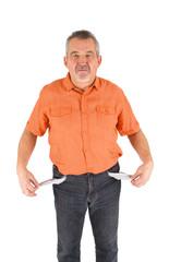 Mann mit leeren Hosentaschen
