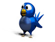 Blue twittering bird on white