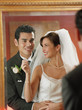 Newlywed couple looking at themselves in the mirror
