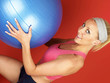 Young Woman Using Swiss Ball. Model Released