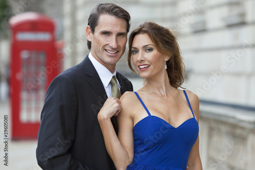 Romantic Couple by Telephone Box, London, England