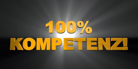 3D Gelbe Strahlen - 100 % KOMPETENZ