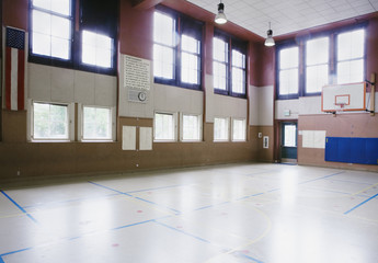 Interiors of an empty basketball court