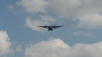 Military transport airplane approaching
