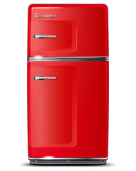 Red retro refrigerator - isolated on white - vector file