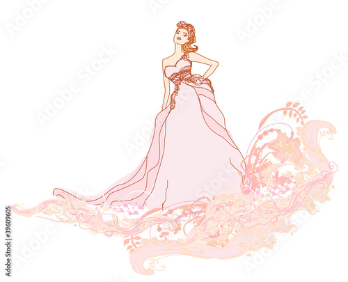 Beautiful bride - doodle illustration