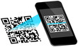 Smartphone Scanning QR-Code Scan On Display Blue