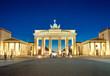 canvas print picture - The illiminated Brandenburg Gate at dawn