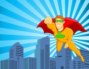 Superhero flying over city
