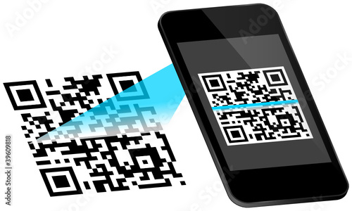 Smartphone Scanning QR-Code Scan On Display Blue