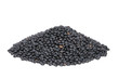Pile Black Beluga Lentils isolated on white background.