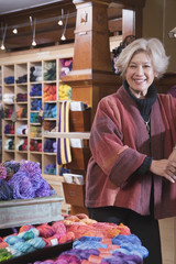 Woman in yarn shop