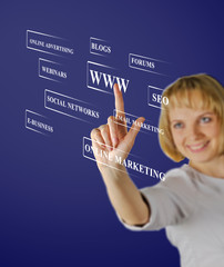 Businesswoman pressing buttons with virtual background
