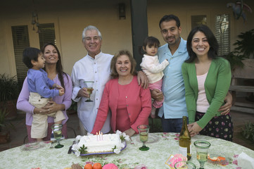 Hispanic family at birthday celebration