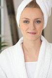 Woman wearing towel on head