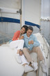 Couple enjoying their sailboat