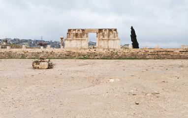 ruins of Umayyad Mosque in antique citadel in Amman