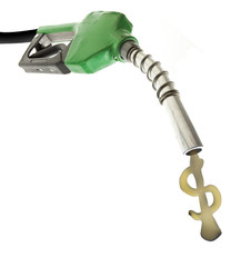 Green gas nozzle with fuel dollar sign on white