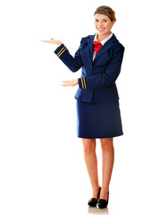 Welcoming flight attendant