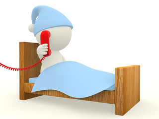 3D man calling from bed