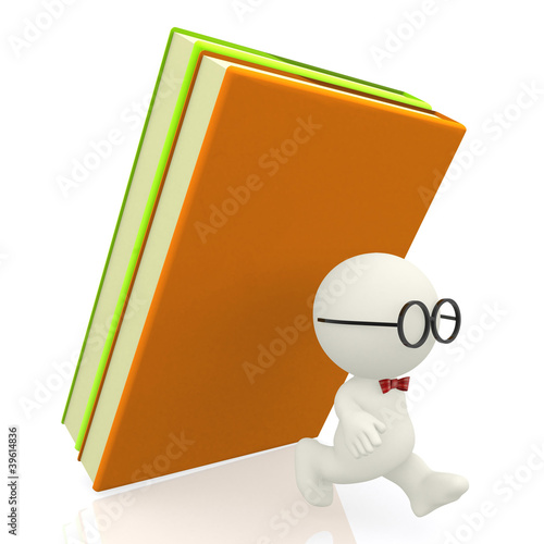 3D nerd attacked by books
