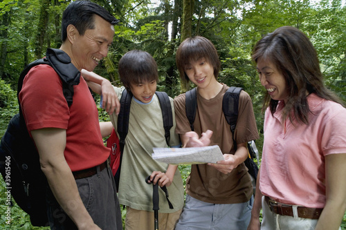 Family checking map while hiking