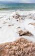 crystalline salt on beach of Dead Sea
