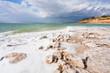 crystal salt beach on Dead Sea coast