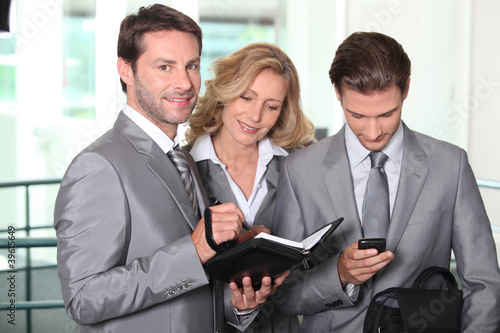 Business colleagues checking agenda