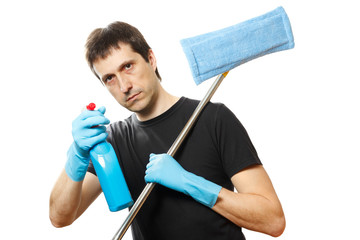 handsome young man with cleaning supplies
